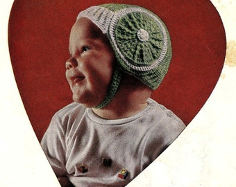 PATTERN Vintage 1950s Baby Hat Pattern with Chin Strap Crocheted Baby Boy Hat Pattern Red Heart Green Hat