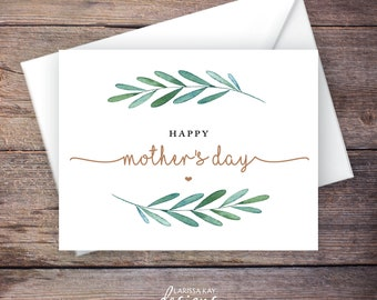 Printable Green Garden Happy Mother's Day Card, Greenery, Instant Download Greeting Card, Mother's Day Greeting Card – Waverly