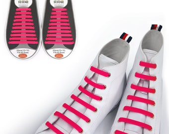 TOTOMO Pink No Tie Elastic Silicone Shoelaces for both Kids & Adults Tieless Shoe Laces