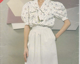 Blouse Pattern Collar Extending into Tie, Skirt 1980s Uncut Size 14 - 18 See & Sew 5180