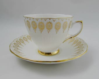 Royal Vale Gold Border Tea Cup and Saucer, Vintage Bone China