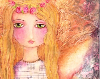 Guardian Angel Print - Love Shabby Pink Whimsical Art by Joann Loftus
