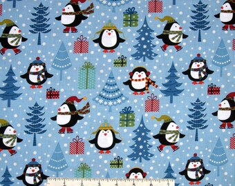 Christmas Fabric - Jolly Penguin & Friends Tree Gift Blue - Benartex YARD