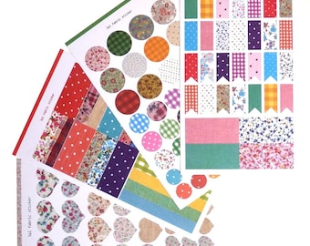 Lot labels stickers decorative gingham dots liberty flowers