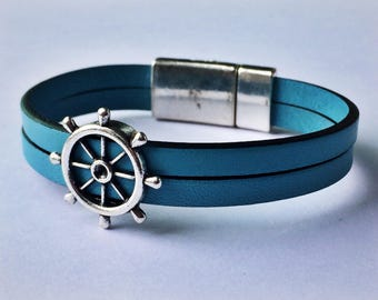 Light Blue 2-Strand Nautical Leather Bracelet with Silver Magnetic Clasp