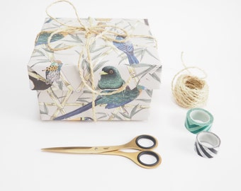 Tropical Birds Gift Wrap, Toucan & Parrot Print Wrapping Paper