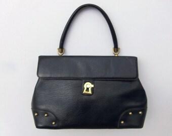 Vintage 60's Navy Blue Leather Purse Handbag with Brass Keyhole Clasp