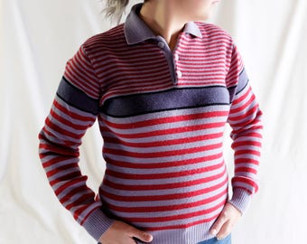 Vintage Collared Stripe Sweater