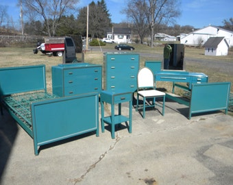 vtg 1940 50s simmons furniture metal medical. rare 9 piece bel geddes 1933 metal bedroom set dresser night stand bed mirrors vanity chair vtg 1940 50s simmons furniture medical