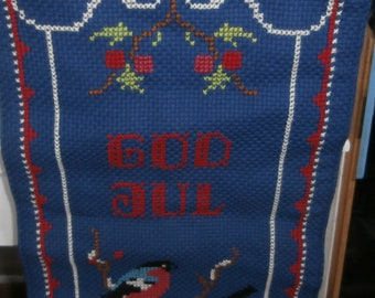 Vintage Christmas Scandinavian Banner blue God Jul with birds and holly berry wall hanging with bell