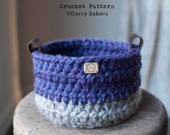 Crochet pattern // the New Englander crocheted basket with leather handles // Instant Download