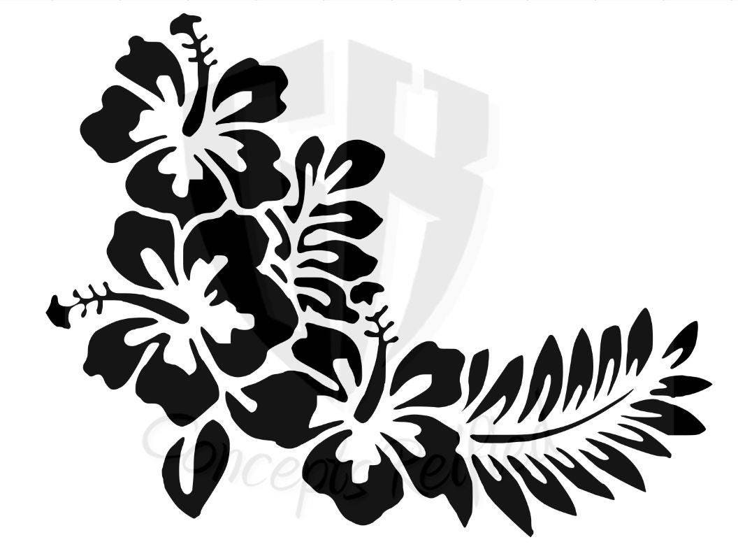 Hibiscus flower with leaves stencil multiple sizes available from 575 izmirmasajfo