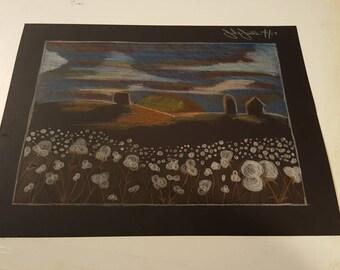 Southern cotton sunset sky original sketch