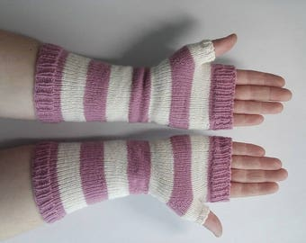 Stripe wristwarmers, striped gloves, fingerless gloves, arm warmers, winter warm gloves, long wool gloves, stripe armwarmers, striped gloves
