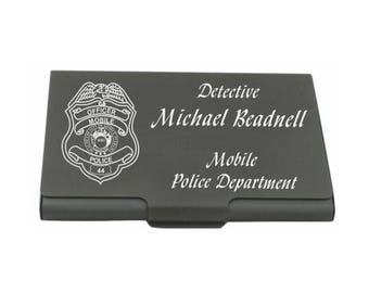 Personalized Engraved_Police Officer Business Card Case_Holder_Deputy Sheriff_State Trooper_Agent_Detective