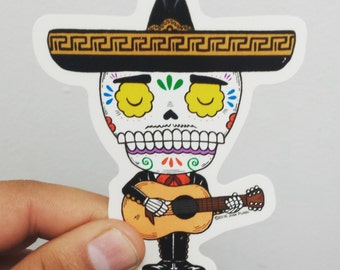 Mariachi  Calavera Clear Die Cut Vinyl Sticker