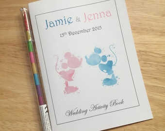 Personalised Children's Kids Wedding Colouring Activity Book Pack Favour - Disney Inspired