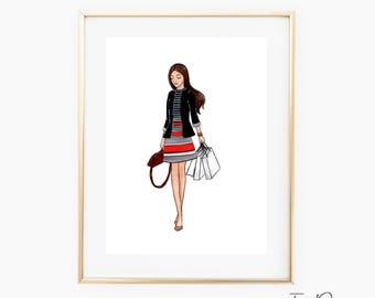 NY Shopping girl fashion wall art Shopping girl fashion illustration Printable fashion sketch Vanity print chic girl in shopping