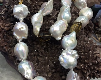 Baroque Nucleus Freshwater Pearls & Whiskey Quartz Necklace - All Natural