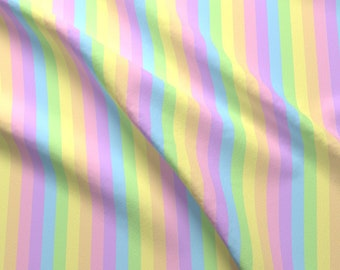 Rainbow Stripes Fabric - Rainbow Pastel Stripes By Raveneve - Rainbow Vertical Stripes Pastels Cotton Fabric By The Yard With Spoonflower