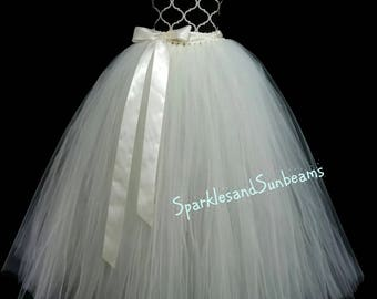 FULLY LINED ivory children to adult LONG Tutu/ Tulle costumes/ Adult long tutu (33 colors available)