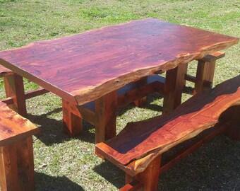 Cedar Table, Rustic Dining Set, Farm Table, Live Edge Table, Cedar Dining Set, Trestle Table, Dining Table