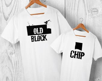 Chip Off the Old Block Matching T-shirt Set - Dad and Son Matching Shirts, Father and Daughter Matching T-shirts, Cotton, FREE Delivery