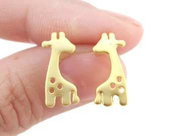 Baby Spotted Giraffe Silhouette Animal Shaped Stud Earrings in Gold | Minimalistic Handmade Animal Jewelry