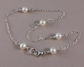 Anklet, delicate sterling and freshwater pearls - made to order