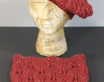Tam and Cowl: Hand knit women's/girls tam with matching cowl