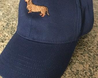 Embroidered Dachshund, Ladies Baseball Cap