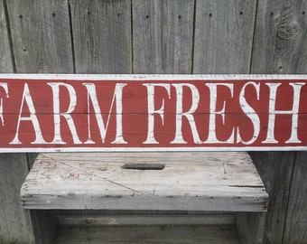 Farm Fresh Large Sign, Rustic Sign, Rustic Wall Art, Hand Painted Sign Farmhouse Kitchen Sign