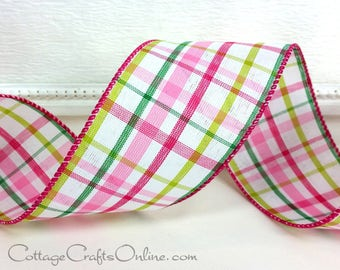 """Wired Ribbon, 2 1/2""""  Pink and Green Shades Plaid, THREE YARDS,  """"Summery Plaid Pink"""", Spring Tartan, Easter, Summer Wire Edged Ribbon"""