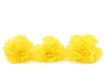 3 Yellow Bargain Carnations - Artifical Flower Heads