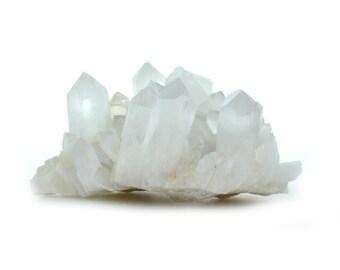 Large quartz cluster, milky quartz cluster, natural clear quartz point, 690.9 g