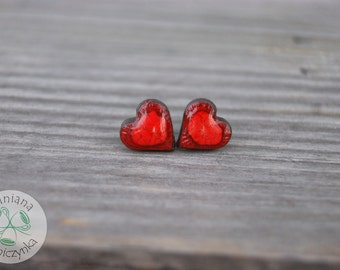 Little red heart earrings, Ceramic stud, red earrings, heart stud, ceramic earrings, surgical steel posts, great gift idea, one of a kind,