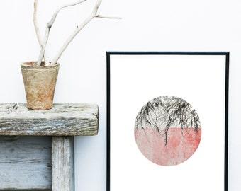 Pink Abstract Art, Scandinavian Modern, Art Print, Minimalist Art, Abstract Art Print, Circle Print,   Giclee print, Wall Art, Poster