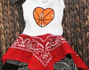 Miami Heat inspired basketball baby dress, Chicago bulls red and black girls dress and headband set