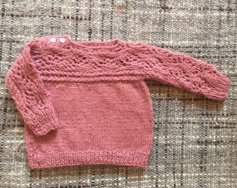 Alpaca sweater, Knitted sweater, Baby sweater, pink sweater, knitted sweater,