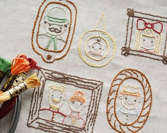 Family Portrait Gallery - PDF Downloadable Pattern for Hand Embroidery