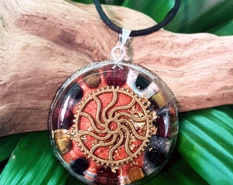 COURAGE & CONFIDENCE Orgone Pendant – Onyx, Tiger's Eye and Garnet - Increase self-confidence, courage, stability,and grounding - Large