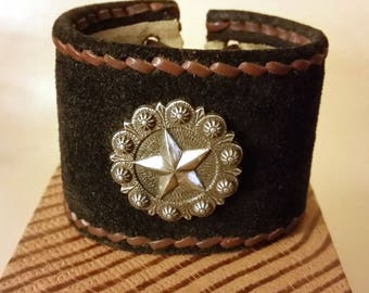 LACE-UP SUEDE Leather Cuff with Star Concho. Black with handstitched brown border. Adjustable Wrist Size Leather Bracelet Unisex.