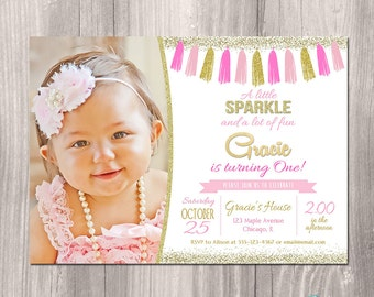 Pink and gold 1st birthday invitation, Pink and gold invitation, first birthday invitation, girl birthday invitation, printable invitation