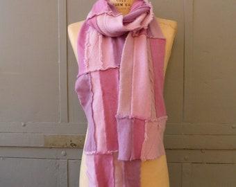 Heliotrope cashmere scarf modern style with fringe edges extra long repurposed