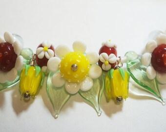 Handmade Lampwork Flowers/ Rosebud/Leaf Glass Beads - Yellow/Red/White