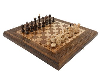 Walnut Handmade Armenian Chess Set 3 in 1 backgammon checkers High Detail Wooden Board Game Hand Crafted Nardi + gift