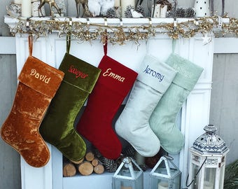 "22"" Large Personalized Christmas Stockings - Red Gold Green Silver Sea Foam Velvet Modern Boot - Christmas Stocking Embroidered with Names"