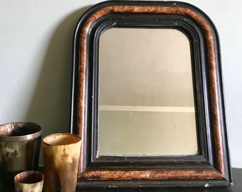 Vintage french mirror carved wood and gesso with faux tortoiseshell decoration