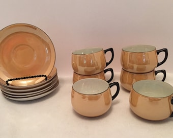 Set of 6 china Cups & Saucers by Chikaramachi Lustreware