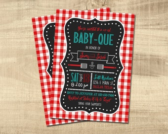 BABY-QUE Shower Invitation | Couples Shower | BBQ Baby Shower